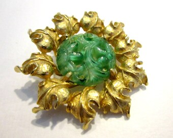 Vintage Green Glass Brooch Faux Peking Glass Pin Gold Leaves Carved Glass Vintage Jewelry Gift for Her Gift for Mom