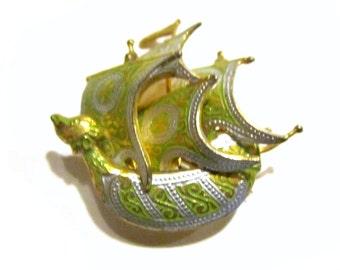 Damascene Ship Brooch Green Vintage Pin Nautical Jewelry Rare Left Face Sail
