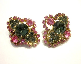 Vintage Pink Smokey Rhinestone Earrings Pink Gray Grey Clip Earrings Wedding Earrings Gift for Her Gift for Mom