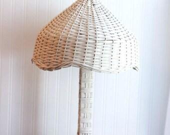 Vintage White Wicker Lamp, Wicker Lamp Shade, Cottage Chic Decor, Shabby Chic Home, Cream or Ivory, Beach House Lighting,  Living Room Light