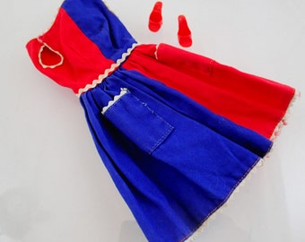 Fancy Free Dress and Shoes Vintage Mod Barbie Doll Mattel Clothes Accessories Blue Red retro Toy