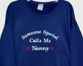 Nanny Sweatshirt, Custom Grandparent Gift From Grandkids, With Nina, Tootsie, Gammie, Glamma, Glammy, No Shipping Fee, Ships TODAY, AGFT 778