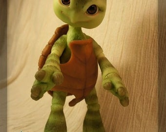 RESERVED - Shelly the Turtle - blushed ball joint doll / BJD - Green/tan resin - Only one available!