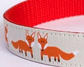 Happy Fox Dog Collar, Forest Friends Pet Collar, European Ribbon Dog Collar