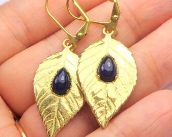 Black Ethiopian Welo Opal Earrings,Pear Shape, Color Play Opals, Deep Blue Base, Red Blue Green Fire, Gold Plated Leaf Drops, OOAK