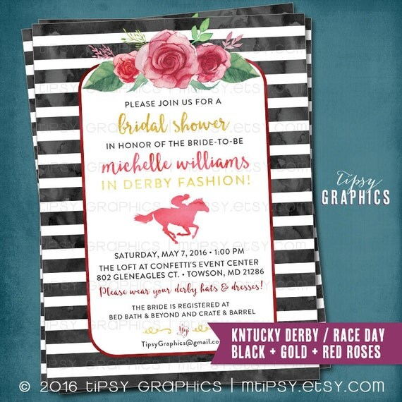 kentucky derby race day party invitation. get lucky in, Party invitations