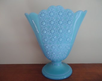 Vintage Fenton Daisy and Button Blue Milk Glass Vase/RARE Color