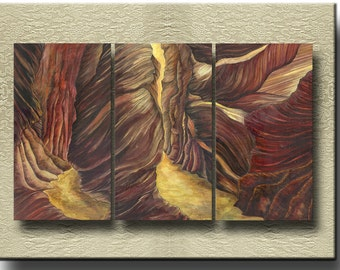 Canyon - Fine Art Prints on heavy Cotton Canvas on 3 Panels - unframed