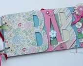 Baby girl scrapbook album, premade scrapbook, word chipboard album, baby shower gift, newborn, baby girl-BG39