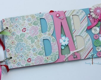 Baby girl scrapbook album, premade scrapbook, word chipboard album, baby shower gift, newborn, baby girl-BG39