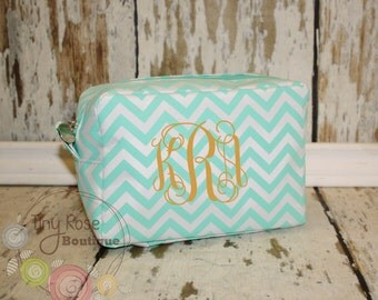 Personalized Monogrammed Mint Chevron Cosmetic Bag, Makeup Case - Bridesmaid, Wedding, Birthday, Graduation