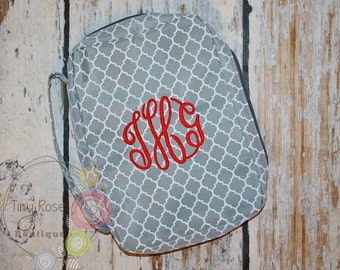 Grey Quatrefoil Bible Case Cover, Monogrammed Bible Case