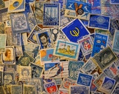 125 Used Vintage BLUE Postage Stamps for crafting, collage, cards, altered art, scrapbooks, decoupage, history, collecting, philately 8c