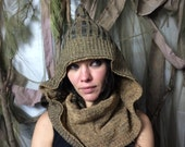 Wood Elf Pointy Hooded Sweater Scarf / Sweater Hood / Upcycled Neckwarmer