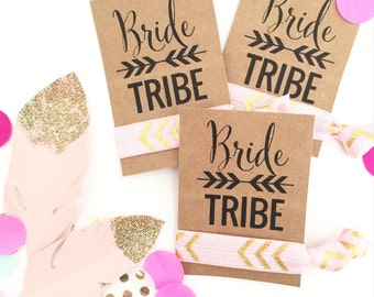 Bride Tribe Single Set 1 card Hair Ties Bachelorette Party Favors Accessories Hair Bridesmaids Bohemian Glitter Boho Tribal Aztec