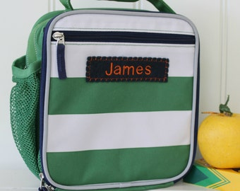 Lunch Box With Monogram Pottery Barn (Fairfax) -- Green/White Rugby Stripe