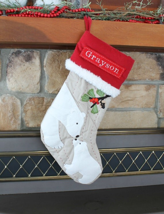 Polar Bear Christmas Stocking With Monogram Pottery Barn