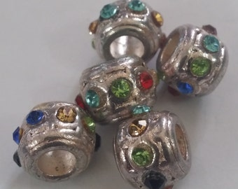 1 Multi Colored CZ Spacer Large 5 mm Hole  Beads fit European Jewelry - Only 5 available 85