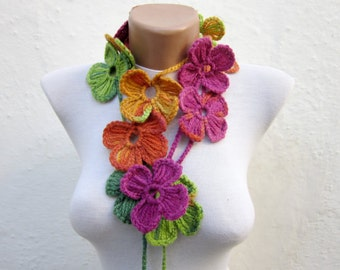 Crochet Scarf, Flower lariat Scarves, Women Winter Accessories, Skinny Scarves, Crocheted Jewelry, Green Pink Yellow