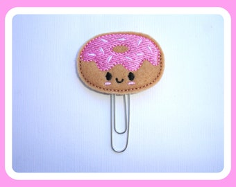 Felt planner clip organizer calendar bookmark paper clip - Donut - tan felt paperclip day planner accessories - doughnut -