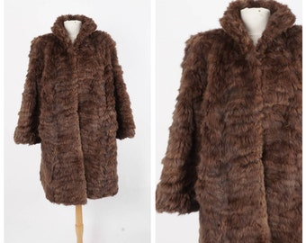 Soft Brown Real Fur Swing Coat Vintage Ladies Winter Short Car Coat Rabbit Jacket