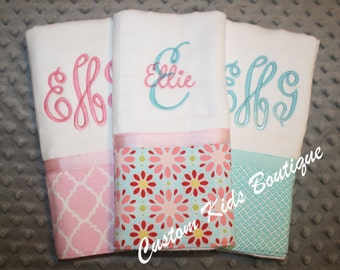 Teal and Pink Floral Baby Girl Burp Cloth Gift Set- Set of 3 Custom Monogrammed Burp Cloths