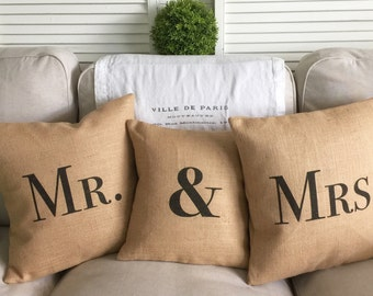Bride and Groom Pillows | Rustic Wedding | Farmhouse Wedding | Country Wedding | Mr. & Mrs. set of three pillows - Inserts Included