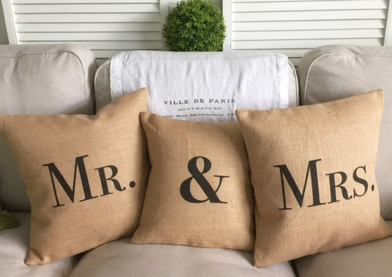 Bride and Groom Pillows   Rustic Wedding   Farmhouse Wedding   Country Wedding   Mr. & Mrs. set of three pillows - Inserts Included