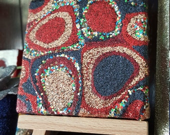 Red and Gold Glitter Canvas Art Original Abstract Artwork no. 24, mini canvas, ooak, modern