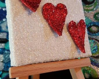 Red and White Glitter Canvas Art Original Abstract Artwork no. 4, mini canvas, three hearts