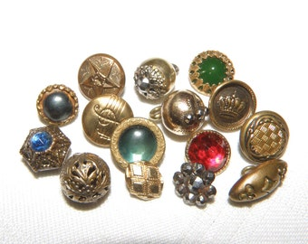 Vintage Small Metal Buttons Mix of 15 Assorted Pictorial Gilt and Glass in Metal for Jewlery or Craft