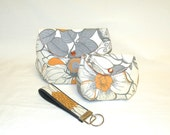 Women's Classic Make-Up Bag Gift Set in Grey and Orange Floral