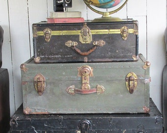 1940s Steamer Trunk - WWII Footlocker with Loads of Vintage Character