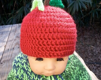 Red Apple Baby Hat with worm