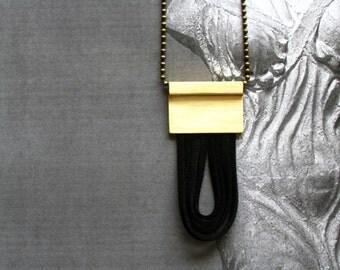 Greek Modern Jewelry-Brass Leather Necklace-Modern Pendant Necklace-Brass Cord Necklace-Contemporary Necklace-Long Brass Necklace