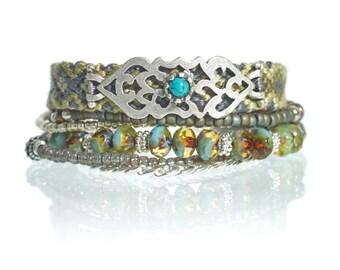 SALE Bohemian fall bracelet - autumn bracelet - beaded multistrand bracelet - bead bracelet - gift for her - bohemian jewelry  boho bracelet