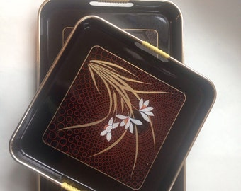 Toyo Lacquer Serving Trays Floral Leaves Mid Century Vintage