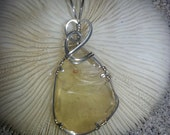 Libyan Desert Glass (Tektite) Pendant,   wire wrapped in Argenum 935 Sterling Silver by Barb's Design