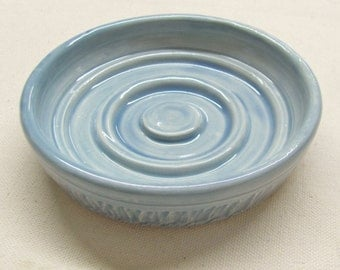 Soap Dish Blue White Handmade Ceramic Pottery Spoon Rest