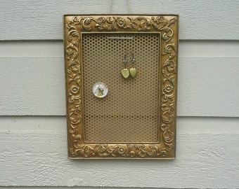 Earring Holder, vintage resin frame in an antique gold with detailed flower and vine moldings, magnetic organizer for earrings or photos