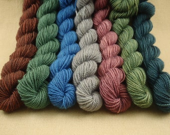 Mini Skeins Subtle Bubble - Set of 7 - Hand Dyed Fingering Sock Weight Yarn - 100% Superwash  Merino Wool