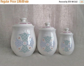 Happy 4th with 40% Off Vintage Gibson Tulips Canister Set / Ceramic Quilted Tulip Canister Set / 80s Vintage Canister Set