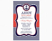 Nautical Baby Shower Invitation, Red and Blue, Anchor Baby Shower Invitation, Ahoy Sailor, Personalized, Printable Invitation
