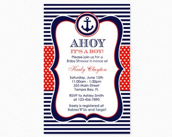 Nautical Baby Shower Invitation, Red and Blue, Anchor Baby Shower Invitation, Ahoy Sailor, Personalized, Printable and Printed