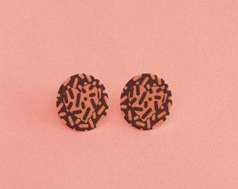 SALE Heart Earrings // Graphic Earrings // Shrink Plastic // Geometric Earrings // Memphis Inspired Jewelry