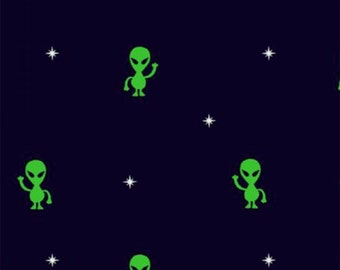 Timeless Treasures Out Of This World Black Aliens Fabric - 1 yard