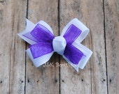Double layer classic bow...White with purple