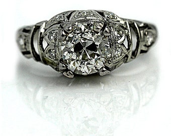 1920s engagement ring antique art deco 115ctw old mine cut diamond in platinum vintage engagement - 1920s Wedding Rings