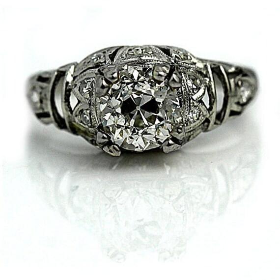 1920 39 s engagement ring antique art deco old mine. Black Bedroom Furniture Sets. Home Design Ideas
