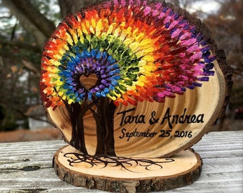 Rainbow Trees Spiral Tie Dye Wedding Cake Topper, Live Edge Branch Slices, Colorful, Fun, Personalized